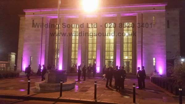 Walthamstow Assembly Hall - Magenta Uplighters